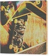 Skateboarding Tricks And Flips Wood Print