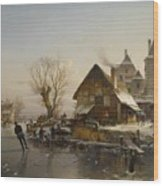 Skaters On The Canal Wood Print