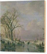 Skating In Holland Wood Print by Andreas Schelfhout
