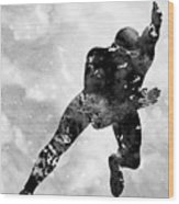 Skating Man-black Wood Print