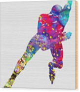 Skating Man-colorful Wood Print