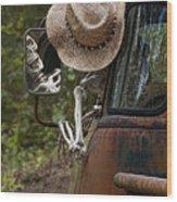 Skeleton Crew - Skeleton Driving A Vintage Truck Wood Print