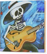 Skeleton Guitar Day Of The Dead  Wood Print
