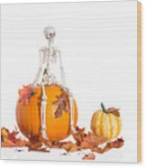 Skeleton Sitting On Pumpkin Wood Print