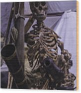 Skeleton With Bow Canon Wood Print