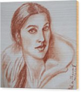 Sketch In Conte Crayon Wood Print