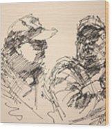 Sketch Men At Tims Wood Print
