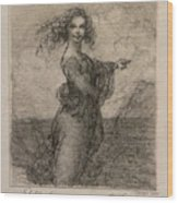 Sketch Of A Young Woman After Leonardo Wood Print