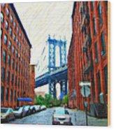 Sketch Of Dumbo Neighborhood In Brooklyn Wood Print