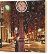 Sketch Of Midtown Clock In The Snow Wood Print