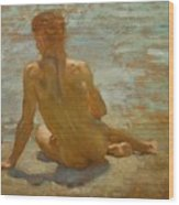 Sketch Of Nude Youth Study For Morning Spelendour Wood Print