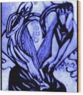 Sketch Of Statue In Blue Wood Print