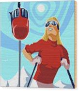 Ski Bunny Retro Ski Poster Wood Print