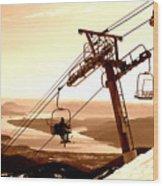 Ski Lift Wood Print
