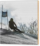 Ski Racer Backlit Wood Print