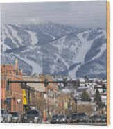 Ski Resort And Downtown Steamboat Wood Print