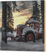 Skidder Sunrise Wood Print by Heather  Rivet