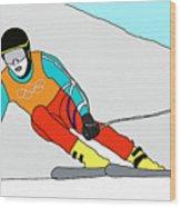 Skier Wood Print
