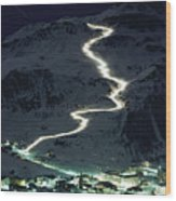 Skiers Bearing Torches Ski Down Mont Wood Print