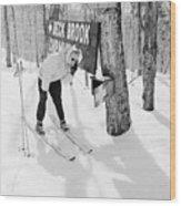 Skier's Telephone Wood Print