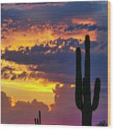 Skies Aglow In Arizona  Wood Print