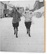 Skiing At St Moritz Wood Print