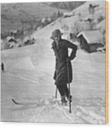 Skiing Wood Print by Brooke