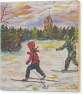 Skiing in the Park Wood Print