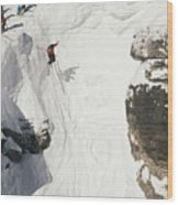 Skilled Skiers Plunge More Than 15 Feet Wood Print by Raymond Gehman