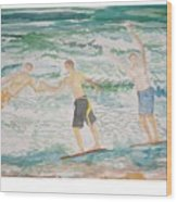 Skim Boarding Daytona Beach Wood Print
