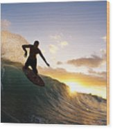 Skimboarding At Sunset I Wood Print