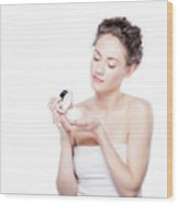 Skin Care. Young Woman Opening A Creme Jar Wood Print