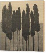 Skinny Trees In Sepia Wood Print by Marsha Heiken