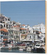 Skopelos Harbour Greece Wood Print