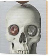 Skull And Bird Wood Print