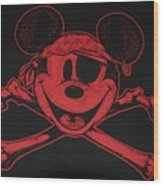 Skull And Bones Mickey In Red Wood Print