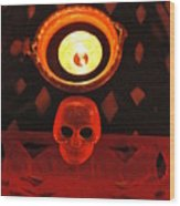Skull And Candle Wood Print