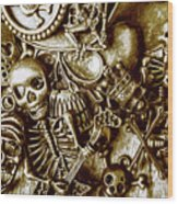 Skull And Cross Bone Treasure Wood Print