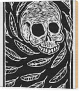 Skull And Feathers Wood Print