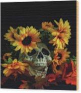 Skull And Flowers Wood Print
