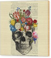 Skull With Flowers Vintage Illustration Wood Print