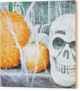 Skull And Pumpkin Wood Print
