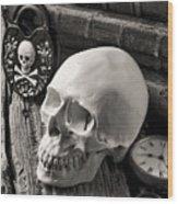 Skull And Skeleton Key Wood Print