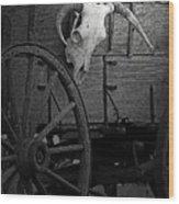 Skull And Wagon Wood Print