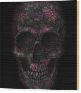 Skull Black Flowers Wood Print