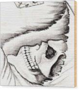 Skull Gambler Wood Print