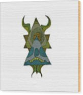 Skull Horns Triangles Wood Print