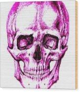 Skull In Purple Wood Print