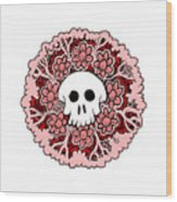 Skull Mandala Pink Wood Print