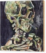 Skull Of A Skeleton With Burning Cigarette Wood Print